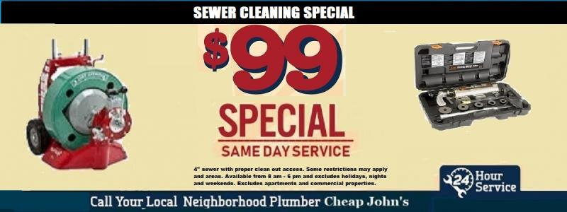 $99 Sewer Cleaning Special