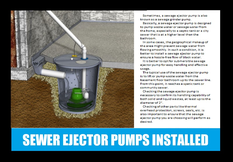 SEWER EJECTOR PUMPS INSTALLED